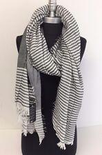 Men's Winter Blanket Long Scarf Striped Tassel Shawl Wrap Pashmina, Black/White