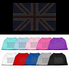Mirage Bone Shaped United Kingdom Union Jack Flag RHINESTONES Print DOG Shirt