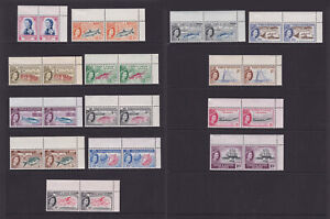 Turks & Caicos. 1957. SG 237-250, 1d to 10/- pairs. Pristine unmounted mint.