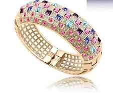 18K ROSE GOLD PLATED AND GENUINE MULTI-COLOURED CZ & AUSTRIAN CRYSTAL BANGLE