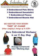 PERSONALISED EMBROIDERED WORKWEAR  Polo Shirts Sweatshirt Fleece & Beanie Pack 6