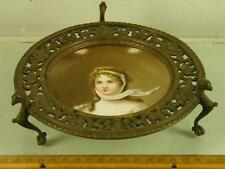 ANTIQUE PORTRAIT PLATE QUEEN LOUISE OF PRUSSIA  BRONZE CARD TRINKET TRAY HOLDER