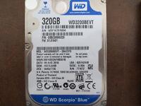 "Western Digital WD3200BEVT-26A23T0 DCM:HECVJANB 2.5"" 320gb Sata Hard Drive"