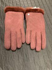 NWT ~ UGG Women's #15108 Sheepskin Suede Gloves Auburn Brown  Sz M $155