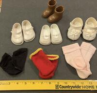 Vtg Doll Shoes Lot 3 Pr White 1 Pr Brown Boots 3 Pr Socks  Fairyland On One
