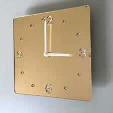 Square Gold MIrror &White Clock (white Back) white Hands Silent Sweep Movement