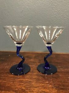 (2) Cocktail Cordial Cosmo Glasses With Cobalt Blue Bent Crooked Squiggle Stems