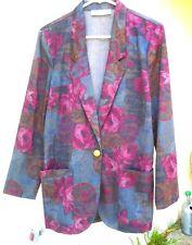 Usa John Henry Women Vtg 90S 80 M Maroon Dark Floral Scroll Grunge Blazer Jacket