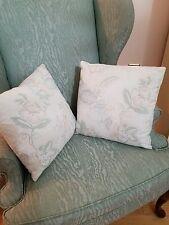 "Flower Floral Throw Pillows (2) Home Decor 14"" x 14"" Custom Made Green - Coral"