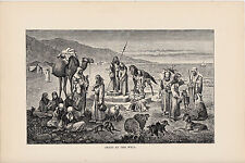 Arabs at the Well. Rare Antique Print. 1881.