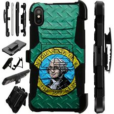 Lux-Guard For iPhone 6/7/8 PLUS/X/XR/XS Max PhoneCase CROSSHATCH WASHINGTON FLAG