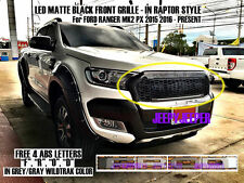 GREY GRAY WILDTRAK LED FRONT GRILLE FOR FORD RANGER MK2 PX2 XLS XLT 2015 16 17
