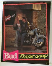 Budweiser Vintage Poster Bud Pin-Up Play in' In PA Motorcycle Man Girl Beer 1991