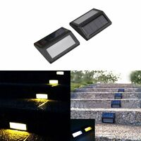 2PCS Solar Powered LED Light Step Stair Pathway Deck Wall Garden Fence Yard Lamp