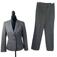 Tahari ASL Women's 2PC Pant Suit Jacket Button Gray Pinstripes Career Size 6 EUC