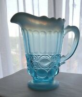Mosser Glass Aqua Opalescent Eye Winker Pitcher