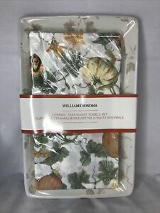 William Sonoma ceramic tray & Pumpkin theme paper guest towels Thanksgiving