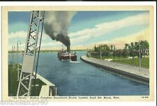 Freighter Loaded Sault Ste Marie MI Mich Ships Ship Postcard