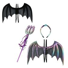 3 Devil Costume Set Fabric Bat Wing Cosplay Headband Horn Trident Fork Christmas