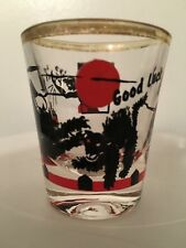 "Black Alley Cats Fighting as a Person Tosses Boot - Shot Glass ""GOOD LUCK""  SG27"