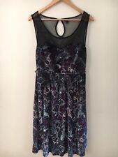 Torrid 0 Velvet Mesh Party Dress Silver Blue Purple Paisley Print Illusion