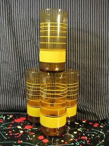 Libbey Striped Amber Brown Glass Tumbler with Yellow Bands Vintage Set of 4
