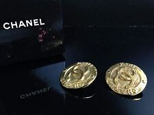Auth Chanel COCO Mark Gold Earring With Box 6I140180S