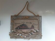 PRIM CABIN FISHING Tackle Bait shop Door Wood wall Sign plaque man cave nautical