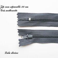 Zip/ Fermeture éclair simple non séparable de 20 cm, Couleur Gris anthracite