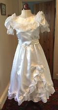GIRL'S VINTAGE 1980'S VICTORIAN STYLE WHITE 'SATIN' BRIDESMAID DRESS