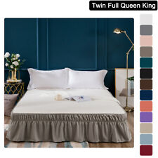 Mohap Elastic Pleated Bed Skirt Dust Ruffle Ultra Soft Twin Full Queen King Size