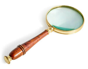 Magnifier Magnifying Glass Brass & Honey Finished Wood Handle 3x Reading Device