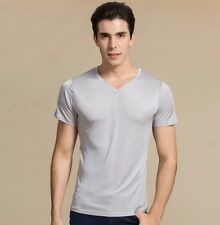 Men's 100% Pure Knit Silk T-Shirts Casual Short Sleeve V-Neck L XL 2XL 3XL HY001