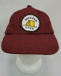 Wander More Wool Blend Cap Hat One Size Burgundy Red Strap Back Hiking Camping