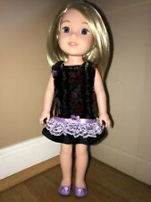 Handmade for 14 1/2 in wellie wishers - soft velour/lace & ribbon dress