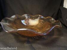 Iridescent Iris and Herringbone Ruffled Fruit Bowl Jeantette 1928 - 1932