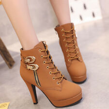 Women's Sexy Boots High Heel Platform Party Ankle Leather Shoes Zip On Big Size