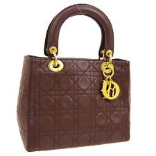 Auth Christian Dior Lady Dior Cannage 2way Hand Bag Brown Leather GHW AK29218
