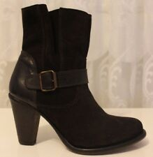 H by Hudson Suede Leather Western Ankle Brown Cowboy Cuban Buckle Boots UK 4 37