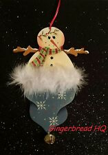 HP Holidays  hat, Snowman  wooden christmas ornament handpainted, gift tag