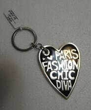 Genuine Brighton Fashionista Diva E14910 Black & Red Silver-plated Heart Key Fob
