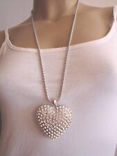 Damen Hals Kette Bettelkette Modekette Modeschmuck Lang XL Strass Herz Silber U7