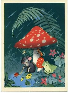 1956 Rainy Day Mouse Frog Mushroom by Byalkovskaya Russian Unposted postcard