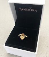 Genuine Pandora Love Lock Silver Ring 18K Gold Plated over Rhodium 196571