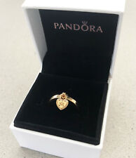 Genuine PANDORA Love Lock Silver Ring 14k Gold Plated Over Rhodium 196571 56