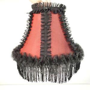 Burgundy Bell Shaped Satin Lined Table Lamp Shade Black Fringe Lace Set 2