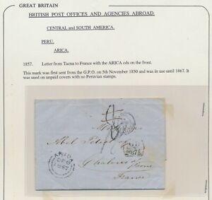 1857 PERU COVER TO FRANCE, TACNA WITH SUPERB ARICA G.P.O CDS, GB ACCOUNTANCY, EL