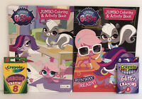 New 4 Pc Littlest Pet Shop Jumbo Coloring Activity Books Neon & Glitter Crayons