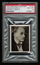 PSA 8 CHARLIE CHAPLIN 1953 Film Stars Card by Greiling Cigarettes #147