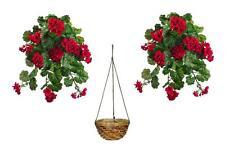 "2 WaterResistant 30"" Artificial Geranium Bush + Hanging Basket Silk Flower Plant"